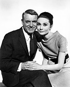 Cary Prints - Charade Cary Grant Audrey Hepburn Print by Silver Screen