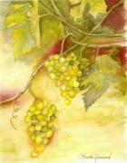 Winery Paintings - Chardonnay Grapes by Rosalea Greenwood