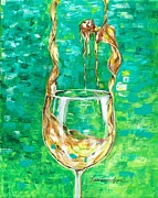 Pouring Wine Painting Prints - Chardonnay Print by Lisa Owen-Lynch
