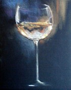 Wine-glass Drawings Prints - Chardonnay Ode to Teresa Print by Susan Richardson-Kaumans
