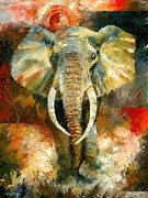 Elephant Paintings - Charging African Elephant by Christiaan Bekker
