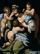 Suckling Paintings - Charity by Bernardo Strozzi