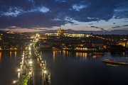 Czechia Framed Prints - Charles Bridge and Prague Castle after thunderstorm at night Framed Print by Bart De Rijk