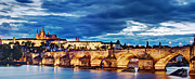 Charles Bridge Photo Metal Prints - Charles Bridge and Prague Castle Panorama / Prague Metal Print by Barry O Carroll
