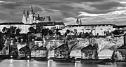Charles Bridge Photo Metal Prints - Charles Bridge and Prague Castle / Prague Metal Print by Barry O Carroll