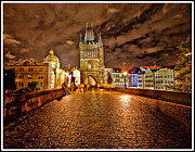 Eery Posters - Charles Bridge At Night Poster by Madeline Ellis
