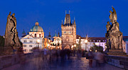 Charles Bridge Photo Framed Prints - Charles Bridge at Night / Prague Framed Print by Barry O Carroll