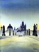 Charles Bridge Painting Framed Prints - Charles Bridge Framed Print by Bill Holkham