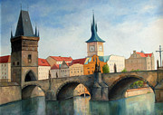 Prague Painting Framed Prints - Charles bridge Framed Print by Igal Kogan
