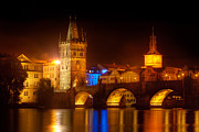 Karluv Most Digital Art Metal Prints - Charles Bridge II- Prague Metal Print by John Galbo