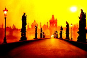 Charles Bridge Painting Metal Prints - Charles Bridge in Prague Metal Print by The Creative Minds Art and Photography