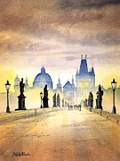 Charles Bridge Painting Metal Prints - Charles Bridge Prague Metal Print by Bill Holkham