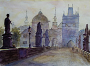 Charles Bridge Painting Metal Prints - Charles Bridge Prague Metal Print by Xueling Zou