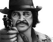 Cowboy Pencil Drawings Framed Prints - Charles Bronson Framed Print by Charles Champin