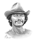 Western Pencil Drawing Posters - Charles Bronson Poster by Murphy Elliott