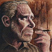 Stopper Prints - Charles Bukowski Portrait Print by David Shumate