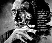 Charles Mixed Media Prints - Charles Bukowski Print by Richard Tito