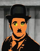 Black Tie Mixed Media Posters - Charles Chaplin Charlot in The Great Dictator Poster by Art Cinema Gallery