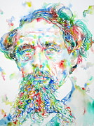 Charles Dickens Paintings - CHARLES DICKENS watercolor portrait by Fabrizio Cassetta