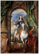 Sir Charles Posters - Charles I with M de St Antoine Poster by Sir Anthony Van Dyck