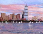 City Scape Pastels - Charles River Boston by Jack Skinner