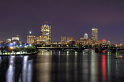 Boston Nights Framed Prints - Charles River Reflections - Boston Framed Print by Joann Vitali