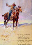 Old West Drawings Prints - Charles Russell - Message Print by Pg Reproductions