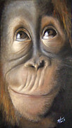 Close Up Painting Metal Prints - Charles the Monkey Metal Print by Michelle Iglesias