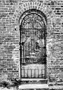 Brick Walls Prints - Charleston Charm 5 bw Print by Mel Steinhauer