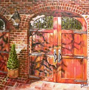 French Door Paintings - Charleston Door by Liz Dettrey