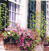 Flower Boxes Paintings - Charleston Flower Box by John Bowen