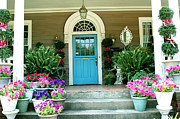 Blue Doors Framed Prints - Charleston Garden- Blue Door Garden and Floral Art Framed Print by Kathy Fornal
