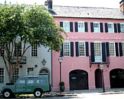 Charleston Houses Prints - Charleston Rainbow Row Historical District Pink Black Architecture Street Scene  Print by Kathy Fornal