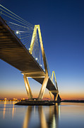 Royal Blue Posters - Charleston SC Arthur Ravenel Jr. Bridge at Sunset Poster by Dave Allen
