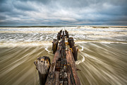 Green Movement Metal Prints - Charleston SC Folly Beach Coastal Atlantic Ocean Metal Print by Dave Allen
