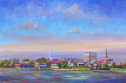 Charleston Houses Paintings - Charleston Skyline by Jeff Pittman