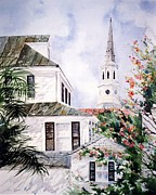 Charleston Houses Paintings - Charleston Skyline by Patty  Frierson