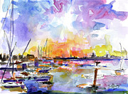 Ginette Fine Art Llc Ginette Callaway Framed Prints - Charleston Skyline Sunset Mt Pleasant Marina Framed Print by Ginette Callaway