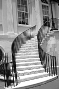 Charleston Houses Prints - Charleston South Carolina Black White Staircase Architecture Print by Kathy Fornal