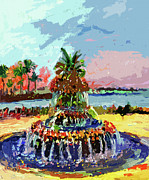 Charleston South Carolina Pineapple Fountain Painting Print by Ginette Fine Art LLC Ginette Callaway