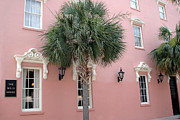 Charleston Houses Prints - Charleston South Carolina Pink Architecture Historical District - The Mills House Print by Kathy Fornal
