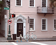 Photography Of Lamps Photos - Charleston South Carolina Pink Architecture Street Scene and Bicycle by Kathy Fornal
