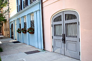 Charleston Houses Art - Charleston South Carolina - Rainbow Row - Historical District Architecture by Kathy Fornal