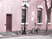 Photography Of Lamps Photos - Charleston South Carolina Vintage Pink Bicycles by Kathy Fornal