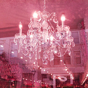 Pink Photos Prints - Charleston Sparkling Pink Chandelier Art Deco Print by Kathy Fornal