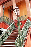 Historical Buildings Photo Posters - Charleston Staircase Street Lamps Architecture Poster by Kathy Fornal