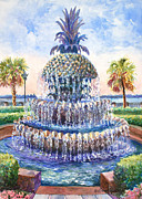 Alice Grimsley Metal Prints - Charlestons Pineapple Fountain Metal Print by Alice Grimsley