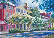 Charleston Painting Posters - Charlestons Rainbow Row Poster by Alice Grimsley