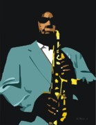 Saxophonists Framed Prints - Charlie Bird Parker Framed Print by Walter Neal