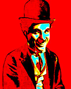 Laughing Digital Art Framed Prints - Charlie Chaplin 20130212 Framed Print by Wingsdomain Art and Photography